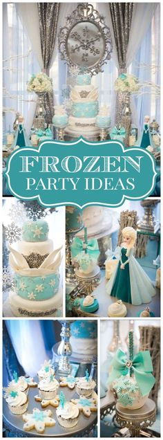 What a stunning Frozen birthday party celebration! See more party ideas at CatchMyParty.com!