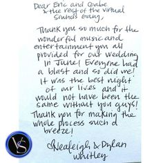 We Love Monday Morning Fan Mail! :) @neawhitley #thankyounote #virtualsounds #bride #groom #wedding #weddingreception #bestdj #heritageroom #salisbury #salisburync #nc #happybride #reception #stationary http://ift.tt/22Yyiqn