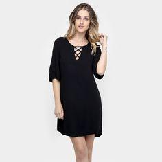 Compre Vestido Colcci Amplo Tiras Preto na Zattini a nova loja de moda online da…