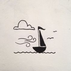 This is a tiny little tattoo design that I came up with a few years ago that I hope to get tattooed on me some day. #drawing #art #design #tattoo #tattoodesign #sailboat #sailor #blackandwhite #bw #windy #clouds #birds #micron #penandink #simple #ocean #sailing #doodle #sketchbook #ink #graphicdesign