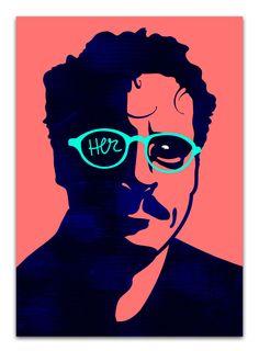 "Pattern Portrait #1 – ""Her"" (Spike Jonze's new sci-fi romance with Joaquin Phoenix and Scarlett Johansson) by Marina Esmeraldo"