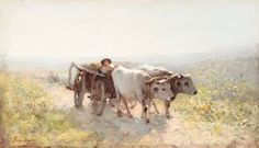 """""""Bull cart""""-my favourite.is like then these beings return from heaven,bringing the golden sunset.IT is alike of the """"bulls table"""" from Solomon temple(Bible). Victor Hugo, Work With Animals, Animals And Pets, Euro, Francisco Goya, Mary Cassatt, William Turner, Farm Art, Edvard Munch"""