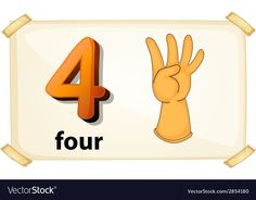 Number 4 vector image on VectorStock Number Flashcards, Christmas Treat Bags, Math Activities For Kids, School Clipart, Anime Child, Cute Cartoon Wallpapers, Baby Art, Teaching Math, Maths