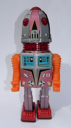 Yonezawa Tulip Head Robot Battery op toy from 60s/ebay