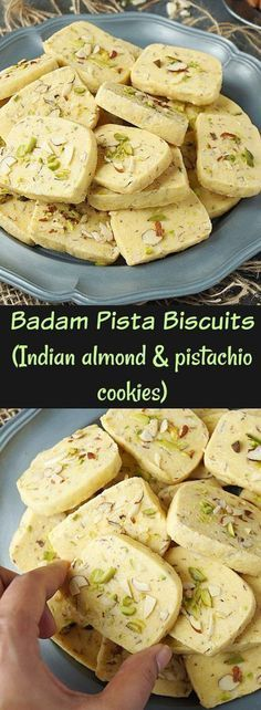 These eggless badam pista biscuits, Hyderabad Karachi bakery style are delicious, crisp yet crumbly and melt in the mouth at the same time. Last year I had shared a recipe for fruit biscuits, Karachi bakery style. It was loved by all those who Eggless Biscuits, Fruit Biscuits, Biscuit Recipe, Cookies Et Biscuits, Mayonaise Biscuits, Oatmeal Biscuits, Easy Biscuits, Baking Biscuits, Cinnamon Biscuits