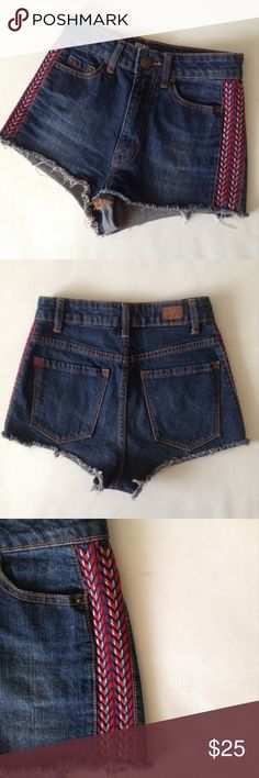 Urban Outfitters BDG High Rise Embroidered Shorts UO BDG High Rise Cheeky Embroidered Tribal Print. Size 24. 99% cotton, 1% Spandex. Good condition. No holes, stains or smells. Embroidered tribal print on the side. Thank you! Urban Outfitters Shorts Jean Shorts