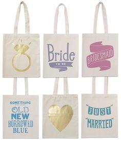 Cute wedding tote bags.
