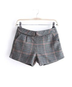Tweed Short with Heart Button Embellish