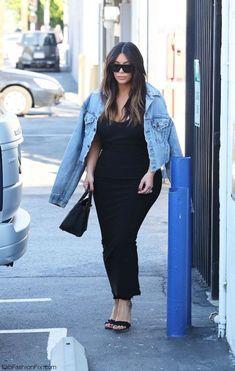 Kim Kardashian street style with denim jacket and black maxi dress (March 2016). #kimkardashian