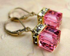 Pink Earrings, Rose Crystal, Swarovski, Gold Filled, Bridal, Wedding, Handcrafted Jewelry, Spring Fashion, Valentine Etsy. $36.00, via Etsy.