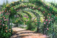 I did this painting from the rose garden at Descanso Gardens, La Canada, Ca.