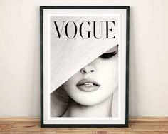 VOGUE MAGAZINE COVER: Vintage Black and White Hat Fashion Cover Art Print