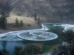 'Ice circles' | a rare natural phenomenon that occurs in slow moving water in cold climates | ©