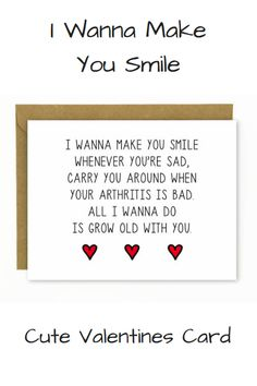 Cute Valentine's Day Card for Boyfriend / Sweet Valentine's Day Card Husband / Funny Valentines Day Card /Wedding Singer - Grow Old With You Cute Valentines Card, Valentine Ideas, Funny Valentine, The Wedding Singer, Make Smile, Card Sayings, Husband Humor, Card Wedding, Lovey Dovey