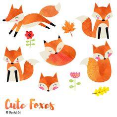 Imágenes Prediseñadas Fox acuarela Linda zorros imágenes prediseñadas / acuarela bosque gráfico / ilustración del zorro