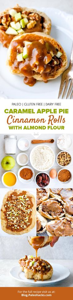 Caramel Apple Pie Cinnamon Rolls with Almond Flour – Brunch – Rolls Recipes Paleo Dessert, Gluten Free Desserts, Dairy Free Recipes, Baking Recipes, Dessert Recipes, Paleo Recipes, Paleo Sweets, Healthy Desserts, Delicious Recipes