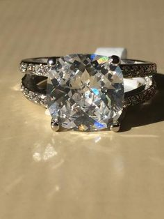 A Perfect 3.9CT Cushion Cut Solitaire Russian Lab Diamond Split Shank Engagement Ring - Joy of London Jewels