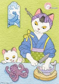 cat sushi watercolor