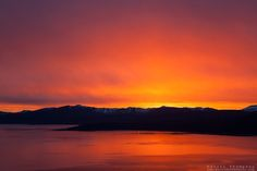 """""""Sunset at Lake Tahoe 30"""" - Photograph of a orange and yellow sunset at Lake Tahoe, shot from near the fire lookout above Crystal Bay."""