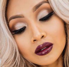 Brown silver burgundy lips