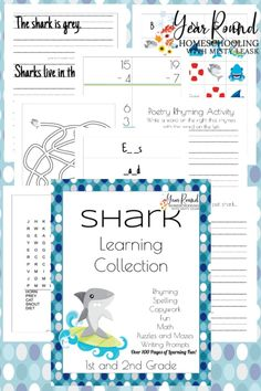 Early elementary students will have fun completing all of the learning activities inside this 100  page 1st-2nd Grade Shark Learning Collection! #SharkWeek #SharkUnit #SharkStudy #SharkUnitStudy #Homeschool #Homeschooling #UnitStudy #YearRoundHomeschooling #Printable Rhyming Activities, Learning Activities, Free Homeschool Curriculum, Homeschooling, Report Writing, Science Videos, New Things To Learn, Business For Kids, Math Resources