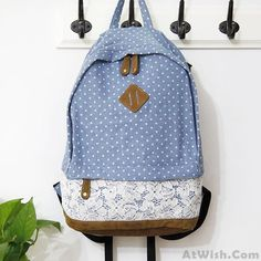 Wow~ Awesome Fresh Blue Denim Dot Lace College Backpack! It only $34.9 at www.AtWish.com! I like it so much<3<3!