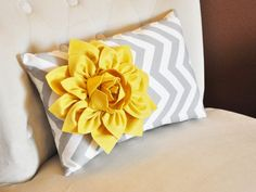 Chevron Lumbar Pillow Mellow Yellow Dahlia on Gray and White Zig Zag Lumbar Pillow 9 x 16