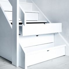 """""""Hidden Storage Drawers Under Stairs"""" - i wonder about dirt getting in there but i still like the concept esp for a small house Stair Drawers, Stair Storage, Hidden Storage, Storage Drawers, Staircase Storage, Extra Storage, Stair Shelves, Basement Storage, Shoe Storage"""