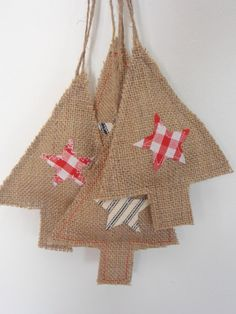 gillyflower - hessian tree hangers with applique stars