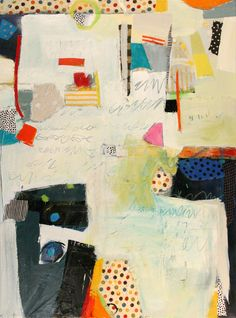 #419 by Tory Cowles; fabric, paper & acrylic on canvas