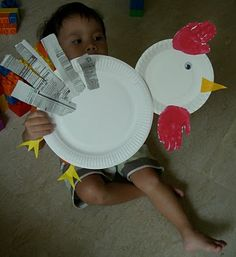 paperplate rooster craft