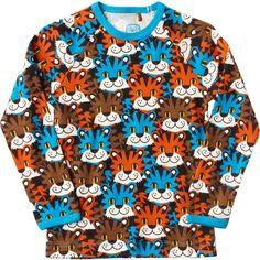 Ej sikke lej - Blå bluse med tigerhoveder - Fri fragt – Miniperlen.dk