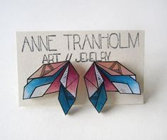 ▲ BLUE CORAL GEOMETRIC EARRINGS ▲  Hand-drawn and unique stud shrink plastic stud earrings by Anne Tranholm  About these earrings: ▲ Made with