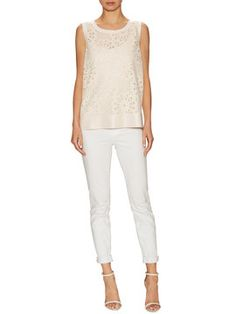 Mesh Lace Crewneck  Top from The Lace Escape on Gilt