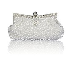 9d8b077016a DG Collection Ladies Pearl Cascading Rhinestone Clutch for Women