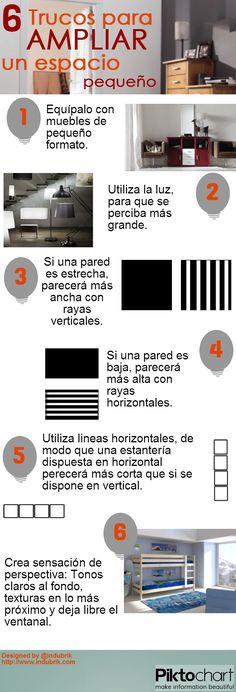 """6 trucos para """"ampliar"""" un espacio pequeño #infografia"""