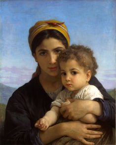 William-Adolphe Bouguereau (French, 1825-La Rochelle-1905), Young Woman with Baby, 1877, Private collection