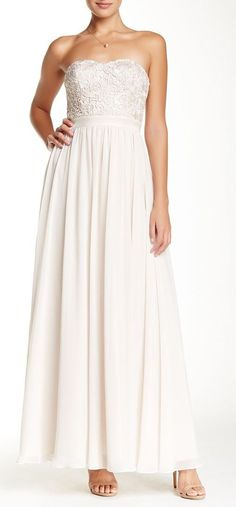 Aidan Mattox | Strapless Lace Chiffon Gown | Sponsored by Nordstrom Rack.