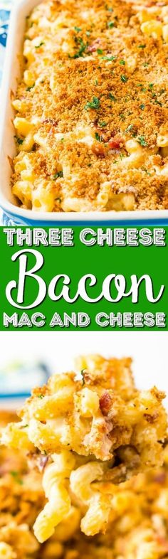 Three Cheese Bacon Mac and Cheese - loaded up with crispy baked bacon and three different kinds of cheese, it's to die for! #bacon  #macandcheese