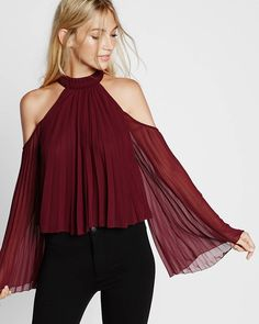 High Neck Pleated Cold Shoulder Blouse White Women's X Small