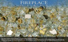 24K Gold Reflective Nugget Diamond Fireplace Glass