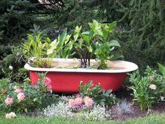 décoration-jardin-baignoire-jardinière-végétation