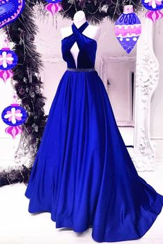 2017 Custom Made Royal Blue Prom Dress,Halter Party Dress,Sleeveless Party Dress,High Quality