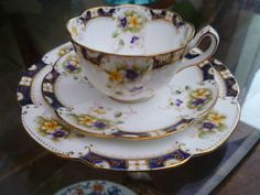 Antique China Trio Teacup Saucer Side Plate Court