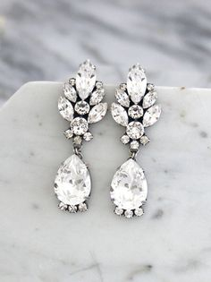 Bridal Earrings Bridal Crystal Chandeliers Antique by iloniti Bridal Jewelry Sets, Bridal Earrings, Wedding Jewelry, Baby Jewelry, Bridal Jewellery, Bridesmaid Earrings, Leaf Jewelry, Silver Jewelry, Silver Ring