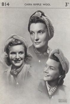 Knitting Pattern wartime turbans hat 40s Vintage WW2