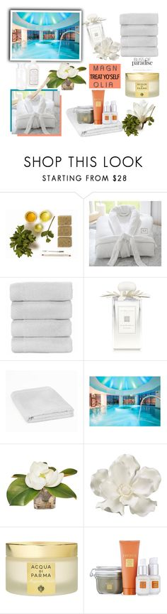 """""""Staycation: Treat Yourself in Spa"""" by vittorio-1 ❤ liked on Polyvore featuring beauty, Pottery Barn, Jo Malone, Allstate Floral, Acqua di Parma, Borghese, Seda France, Summer, beautiful and polyvoreeditorial"""