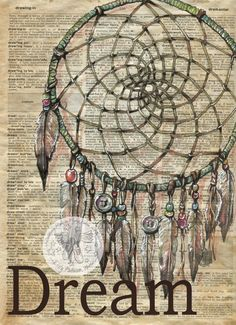 Dream Catcher mixed media drawing on antique dictionary flying shoes art studio