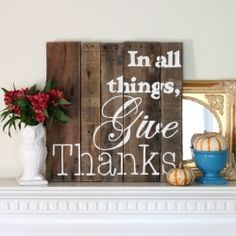 Create a beautiful piece of pallet art easily using a pre-made pallet canvas, an easy image-transfer technique, and paint. Perfect for your Thanksgiving mantel!