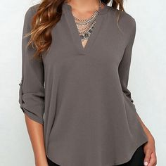 Casual Open Neck Blouse in Gray